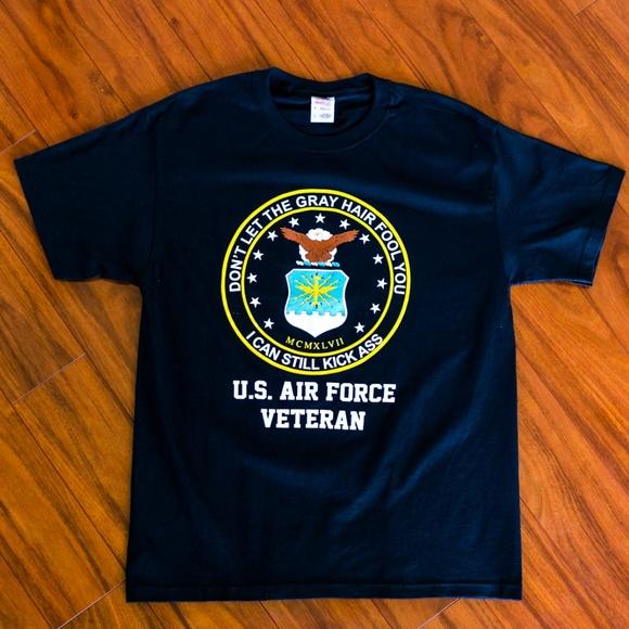 Military USAF U.S.Air force Veteran Polo Shirt White Medium